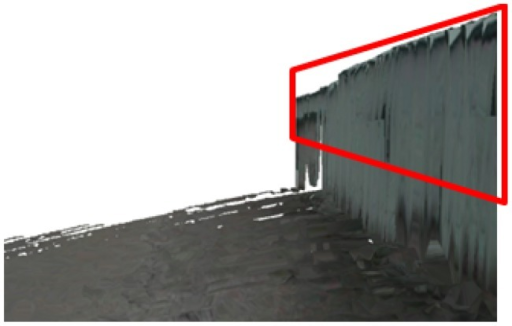 Reconstruction result after complete scene recovery. The recovered parts are indicated by the red rectangle.