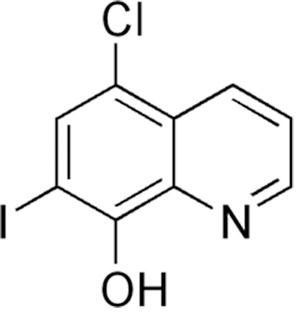 Structure of clioquinol.CQ is considered an intermediate affinity zinc chelator (Log conditional stability constant = 8.8; [67]) that also functions as a zinc ionophore. The ligand to metal stoichiometry is 1∶2 [67], [68]. Its mechanism of action and clinical uses have been recently reviewed [29], [30].