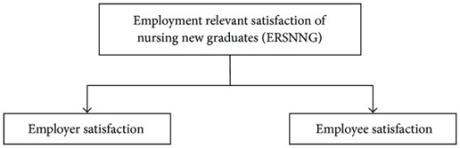 Model for employment relevant satisfaction of nursing new graduates.