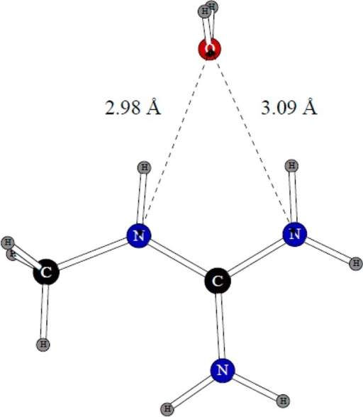 Dimer of the methylguanidinium ion with one water molecule.