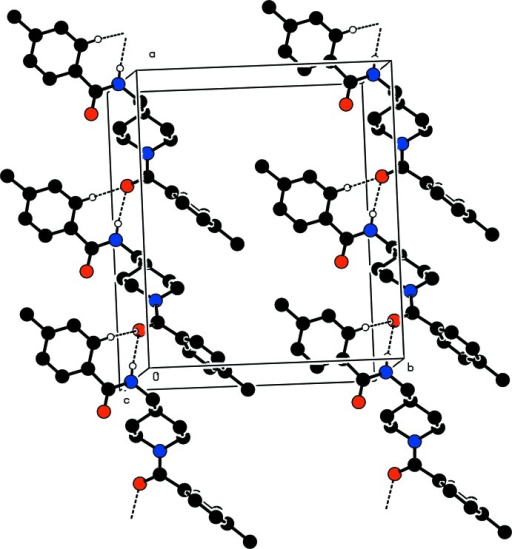 The packing of the molecules in the crystal structure. Unassociated H-atoms are omitted and dashed lines indicate the hydrogen bonds.