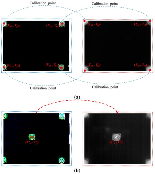 Four corresponding (calibration) pairs of points produced by four NIR illuminators to obtain the geometric transform matrix and an example for measuring calibration accuracy. (a) Four pairs of corresponding (calibration) points; (b) pair of points for measuring calibration accuracy.