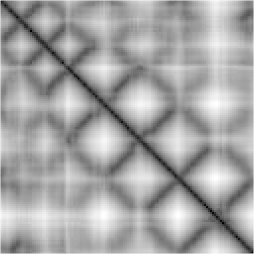 Representation of β sheets of domain d1n4ja36 in α carbon distance matrix gray-scale image.