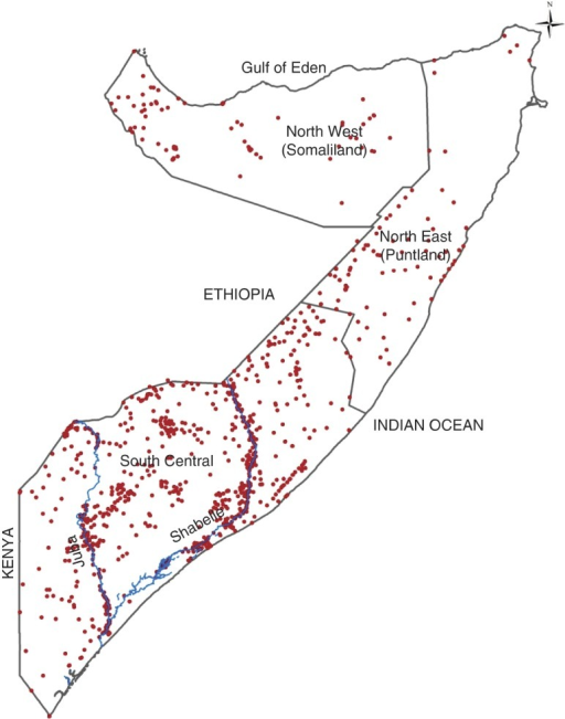 (colour online) Map showing the distribution of clusters sampled during the FoodSecurity and Nutritional Analysis Unit nutrition surveys conducted between 2007 and2010 in Somalia. The country is divided into three main zones: North West, NorthEast and South Central