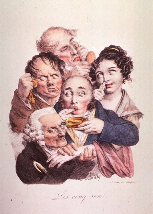 <p>Caricature of the five senses; group of four men and a woman.</p>