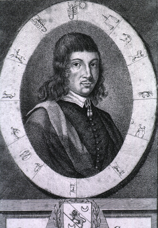 <p>Head and shoulders, right pose, in oval with astromomical signs of the zodiac, coat-of-arms.</p>