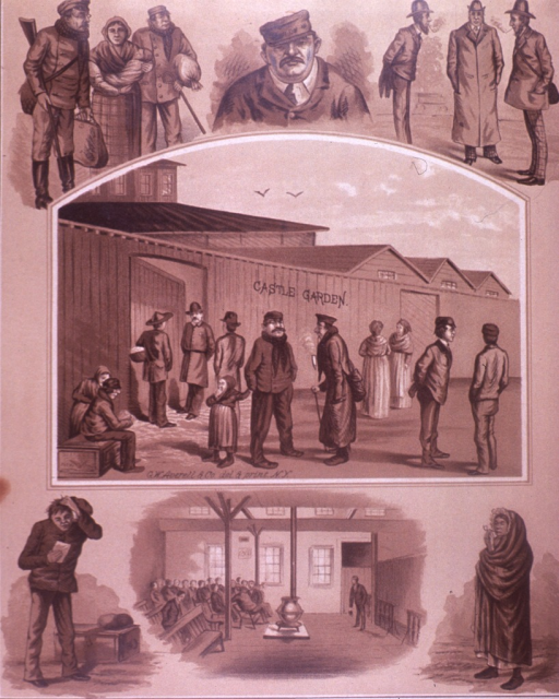 <p>Scenes of people in, on their way to, or around Castle Garden, an immigration landing depot.  Over 8 million people entered the United States through Castle Garden (1855-1890).  On the verso are advertisements for  Charles F. Schmidt &amp; Peters and the Colgate &amp; Co.</p>