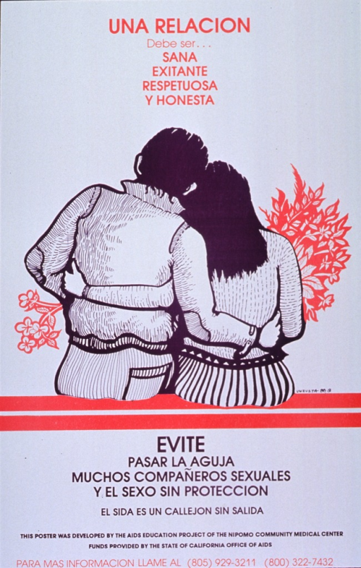 <p>White poster with purple and red lettering.  Title at top of poster.  Visual image is an illustration of a seated man and woman with their arms around each other, shown from the back.  Caption below illustration lists needle sharing, multiple sex partners, and unprotected sex as things to avoid.  Note below caption calls AIDS a blind alley.  Publisher and sponsor information below note.</p>