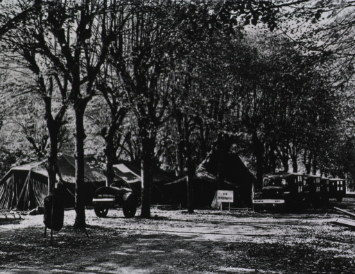 <p>Several tents are shown pitched amidst trees in a forest.  A sign bearing the name of the hospital stands next to a row of parked ambulances.</p>