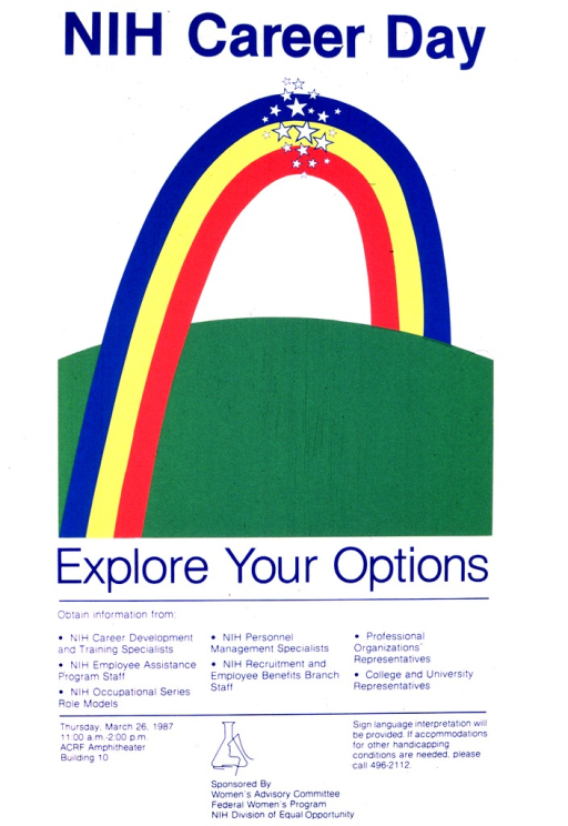 <p>The middle portion of the poster is a rainbow made of three colors with a burst of white stars at the top crossing over a green area.  The bottom portion of the poster gives the date of Thursday, March 26, 1987 along with further details as to the time and place of the meeting, sign language availability, and sources for information.</p>