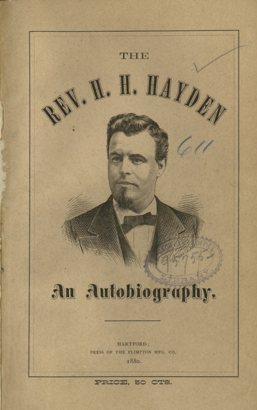 <p>Image of the pamphlet front cover. The cover features a three-quarter portrait of the Reverend Herbert H. Hayden dressed in a suit and bow tie. Engraving by Photo Eng. Co., N.Y.</p>