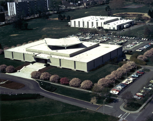 <p>An aerial view of two buildings on the campus of the National Institutes of Health. Building #38, the National Library of Medicine, is in the foreground. Building #41 is in the background.</p>