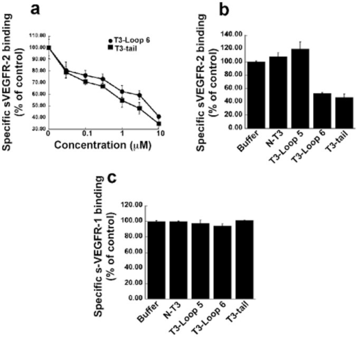 "The effect of synthetic TIMP-3 peptides on binding of 50 ng/ml soluble (s) VEGFR-1 or –2 to immobilized VEGF.A competitive ELISA assay was used as described under ""Materials and Methods"" (a). Loop 6 and tail peptides inhibit sVEGFR-2-VEGF complexes in a concentration-dependent manner. (b) Loop5 and N-peptide have no effect on sVEGFR-2-VEGF complexes. (c) Loop 5, loop 6, tail and N-peptide are unable to inhibit sVEGFR-1-VEGF complexes."