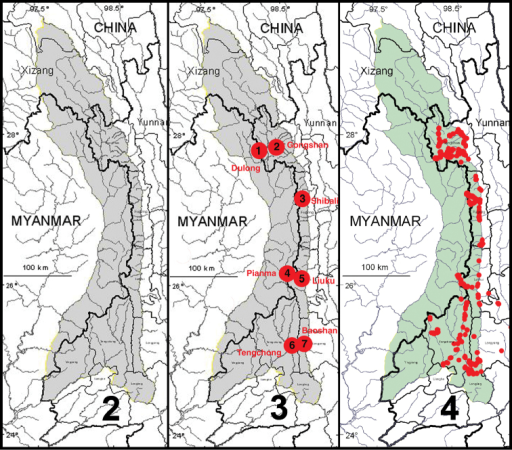 2 Map showing natural extent of study area, colored in gray (however, sampling was permitted only in those portions in Yunnan Province 3 Map showing location of core sampling areas 4 Map showing locations of all entomological sampling sites.