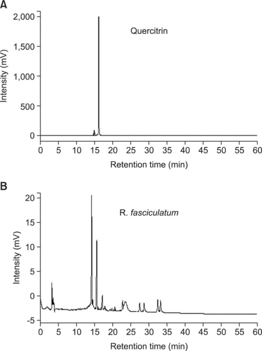 HPLC chromatogram of R. fasciculatum. The retention time of quercitrin was specified on the chromatogram for the comparison. The mobile phase was 0.1% aqueous acetic acid (A) and acetonitrile (B) with a gradient program as follows: 0–5 min; isocratic 95% A; 5–60 min, linear gradient elution, 95-0% A; at a flow rate of 1 mL/min. The sample injection volume was 20 μL and the peak was monitored at a wavelength of 360 nm.
