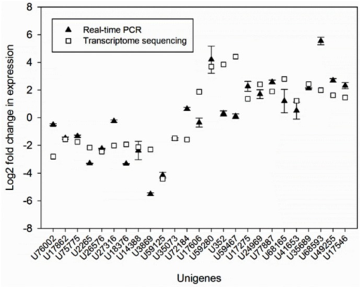 Quantitative real-time RT-PCR (qRT-PCR) confirmation of the differential expression of 25 DEGs in diseased and control plants (U76002; Ammonium transporter, U17862; WRKY transcription factor 21, U75775; Nitrite reductase, U2265; Amino acid transporter, U26576; Mitogen-activated protein kinase kinase kinase 1, U27316; NAC domain-containing protein 71, U18376; Cytochrome P450 84A1, U14388; DELLA protein RGL2, U3869; Jasmonate ZIM domain-containing protein 6, U59125; CRT/DRE binding factor, U35073; Allene oxide synthase, chloroplastic, U72184; Zinc finger A20 and AN1 domain-containing stress-associated protein 3, U17606; BRASSINOSTEROID INSENSITIVE 1-associated receptor kinase 1, U59280; Miraculin-like protein 2, U352; Beta-galactosidase 3, U59467; Proline-rich protein, U17275; phytochrome-interacting factor 3, U24969; Probable LRR receptor-like serine/threonine-protein kinase, U77887; Gibberellin 2-oxidase, U68165; Ent-copalyl diphosphate synthase, U41653; LRR receptor-like serine/threonine-protein kinase GSO1, U35689; Chalcone synthase, U68593; Cyclic nucleotide-gated ion channel 1, U49255; Ent-kaurene oxidase, U17546; Leucine-rich repeat (LRR) protein).The signal intensity of each unigene was normalised against 18S rRNA as a housekeeping gene. The log2 fold change in expression of each transcript was determined using the 2-ΔΔCt method and is plotted for comparison with the log2 ratios determined using RPKM values in the RNA-seq data. Error bars represent standard error, which is calculated by dividing standard deviation to square root of N. N refers to number of replicate.