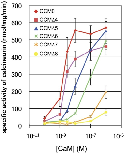 Target activation by CaM and its variants. Results of the CN pNPPase assay (n=3 and 2 for CCM0 and variants, respectively). CCM0, CCMΔ4, CCMΔ5, CCMΔ6, CCMΔ7, and CCMΔ8. Detailed experimental procedures are described in Materials and Methods.