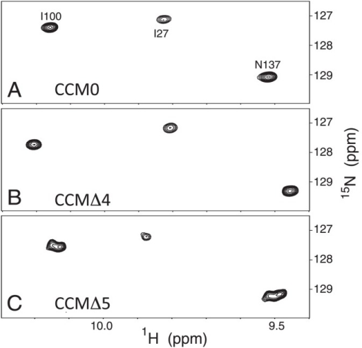 Downfield-shifted regions in 1H-15N HSQC of uniformly 15N-labeled CaM and its variants in the presence of Ca2+. CCM0 (A), CCMΔ4 (B), and CCMΔ5 (C).