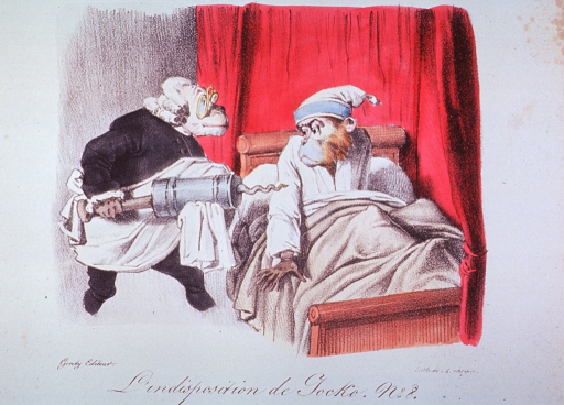 <p>Caricature:  Monkeys as physician and patient; the patient in bed is startled when the physician prepares to administer an enormous clyster.</p>