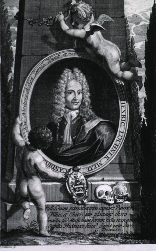 <p>Head and shoulders, left pose, full face; in oval supported by two figures against pillar; skull and coat-of-arms at base.</p>