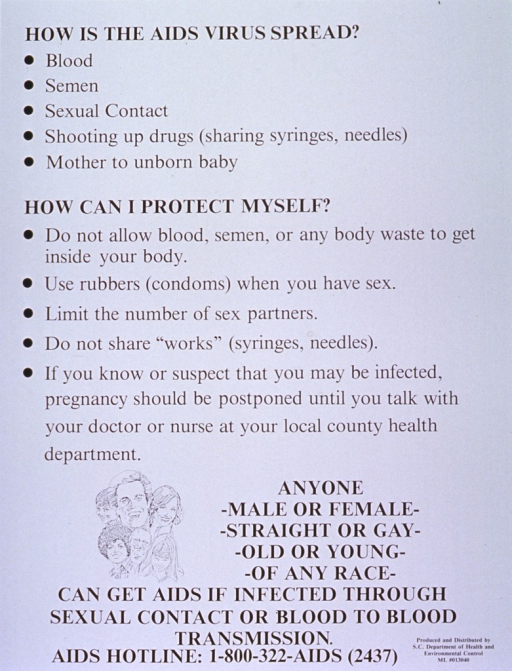 <p>White poster with black lettering.  Title at top of poster.  Poster dominated by text explaining how the virus is spread and methods for protection.  Visual image is a small line drawing showing faces of a diverse group of people to emphasize that anyone can get AIDS.  Phone number for more information at bottom of poster.</p>