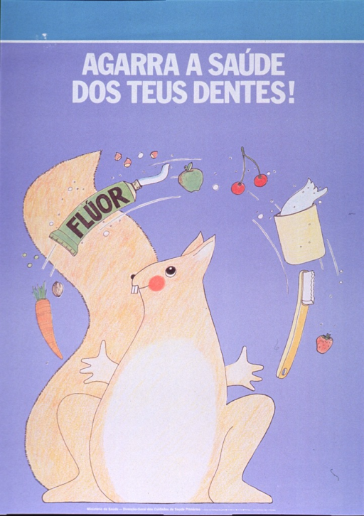 <p>Predominantly lilac poster with white and black lettering.  Title near top of poster.  Visual image is an illustration of a squirrel juggling healthy foods, toothpaste, and a toothbrush.  Publisher information at bottom of poster.</p>