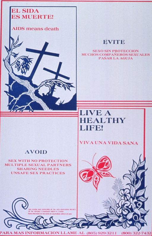 <p>White poster with magenta and teal lettering.  Poster divided in quarters.  Title in upper left quarter.  Visual image in title quarter is an illustration of a cemetery, represented by two crosses, with a thorny branch in the foreground.  Caption in Spanish in upper right quarter, in English in lower left quarter.  Note in lower left quarter, with an illustration of a butterfly and a flowering vine.  Publisher and sponsor information in lower left quarter.</p>