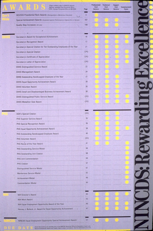 <p>Consists of a chart on a gray background with a breakdown of the awards, with yellow dots indicating which groups of employees are eligible for each award.  Brief instructions for submitting nominations are given at the bottom of the poster.</p>