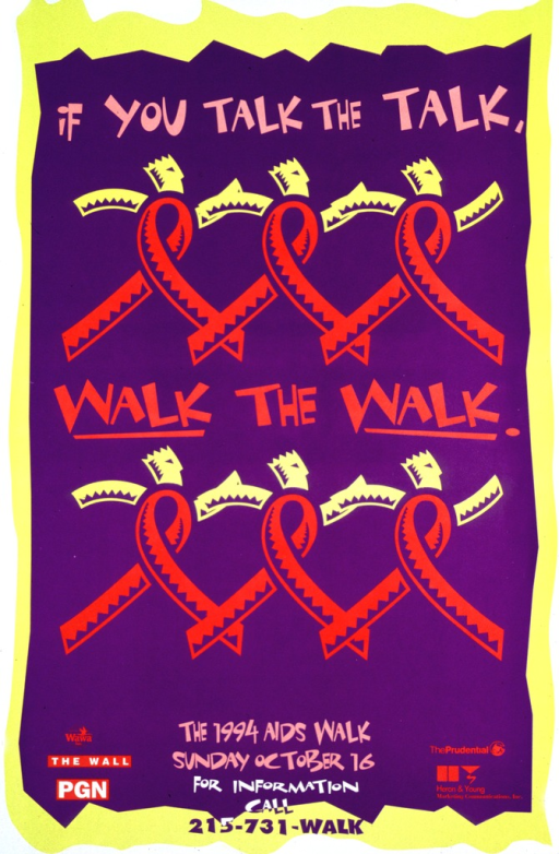 <p>Predominantly purple poster with multicolor lettering.  Initial title phrase at top of poster.  Visual image is two rows of abstract figures.  The figures are AIDS awareness ribbons, with heads and swinging arms, suggestive of people marching or walking briskly.  Remaining title phrase between the rows of figures.  Note and sponsors at bottom of poster.</p>