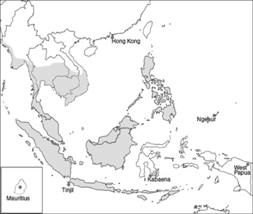 Distribution of the long-tailed macaque (Macaca fascicularis) in Southeast Asia (Gumert et al. 2011).