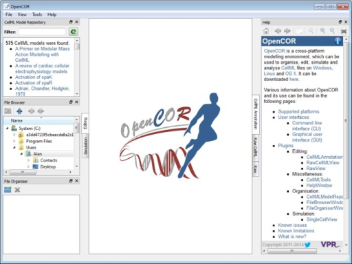 Graphical user interface. The graphical user interface consists of a central area where files are loaded and rendered (the OpenCOR logo is shown, if no files are opened). The rendering of a file depends on the selected view (to the right of the central area). In the case of the Editing mode (to the left of the central area), the views currently available are the CellML Annotation view, the Raw view and the Raw CellML view. Several windows (the CellML Model Repository window, the File Browser window, the File Organiser window and the Help window) are also available. By default, they are docked around the central area, but they can also be hidden or undocked.