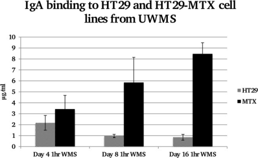 Concentration of IgA bound to equal protein levels of HT29 and HT29-MTX cell lines from UWMS at days 4, 8 and 16.Significantly more IgA is bound to HT29-MTX cells compared to HT29 cells at day 16 and also significantly more compared to the same cell line at day 4, where *P<0.05 Day 16 HT29-MTX compared to day 4 HT29-MTX, **P<0.01 day 16 HT29-MTX compared to Day 16 HT29.