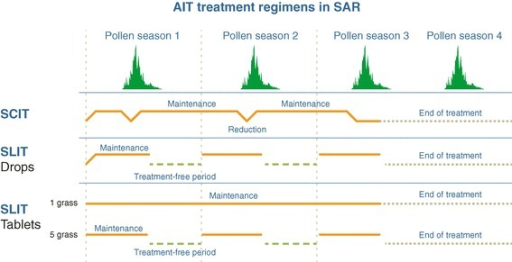 AIT regimens for seasonal allergic rhinitis.