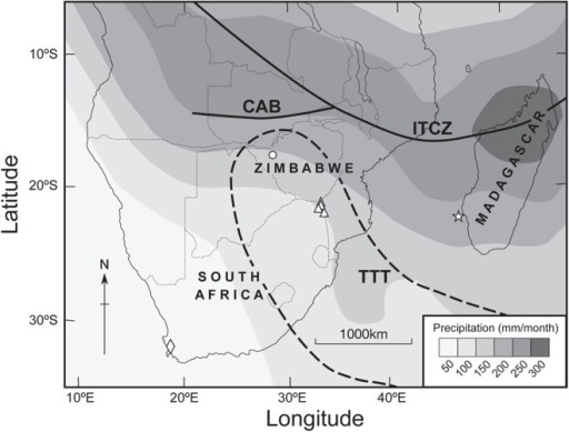 Sample sites and austral summer rainfall density over southern Africa.The highest rainfall density is associated with the southernmost position of the intertropical convergence zone (ITCZ) (solid line) after reference [2]. The approximate position of the TTT system is within the dotted line after reference [4]. Sampling sites and reference data sites include: the baobab trees (triangles), mukwa trees from western Zimbabwe (circle), the cedar chronology (diamond), and the sea-surface temperature for the Mozambique Channel is derived from the coral isotope record from Ifaty (star).
