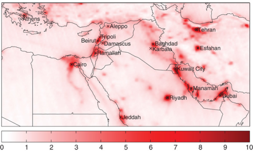 Tropospheric NO2 over the Middle East.NO2 column densities in 1015 molecules/cm2 observed by OMI, averaged over the period 2005–2014.