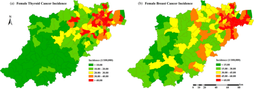 The distribution of 5-year average female thyroid/breast cancer incidence in Hangzhou.(2008–2012). Created by ArcMap 9.3.1 http://www.esri.com/software/arcgis/eval-help/arcgis-931.