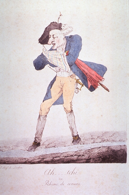 <p>Caricature:  A man is sneezing into a handkerchief; he is wearing a hat and coat and holding a closed umbrella.</p>