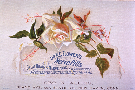 <p>Brain and nerve food for the relief of sleeplessness, restlessness, hysteria, and other unspecified ailments.  Visual motif:  A white rose.</p>