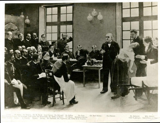 <p>Charcot demonstrating a hysterical case at la Salpetriere.  Group portrait in a classroom situation.  Photoprint based on an oil painting by Pierre-Andre Brouillet, 1887.  Title of painting appears variously as &quot;Lecʹon de Charcot a la Salpetriere&quot; or &quot;Lecʹon clinique a la Salpetriere.&quot;  Original possibly at the Hopital neurologique, Lyon, France.</p>