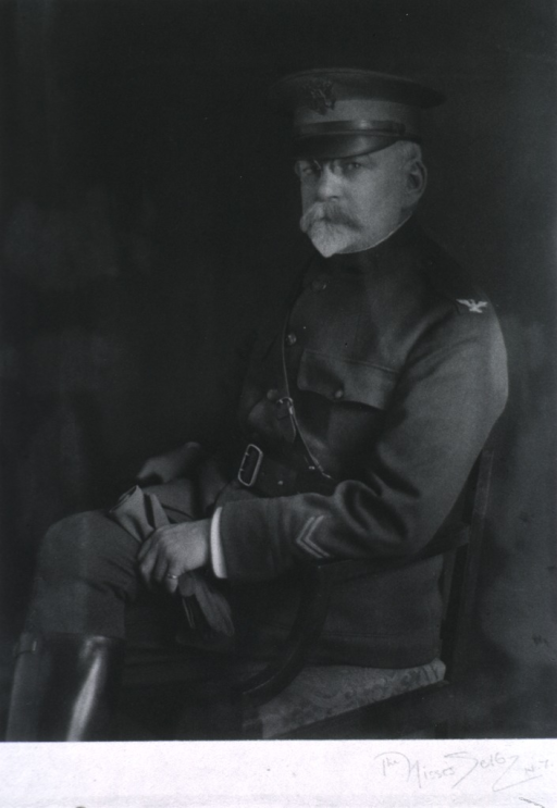 <p>Seated, three quarter length, left profile, head turned front; in uniform, Col. M.C.</p>