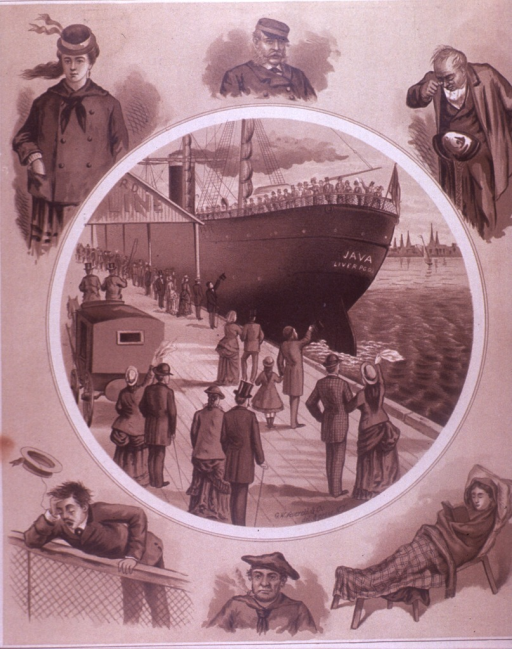 <p>Six people representing different cruise experiences surround  a circle; within the circle is  a ship, Java Liverpool, with travellers on deck and people waving from the dock, and a horse drawn carriage.  An advertisement for the Providence &amp; Stonington Steamship Co. is on the verso.</p>