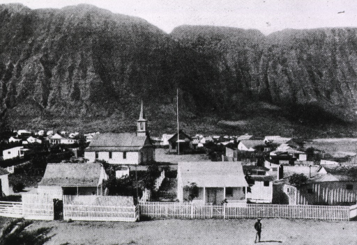 <p>Main settlement, Molokai.  Exterior view of the leper colony.</p>