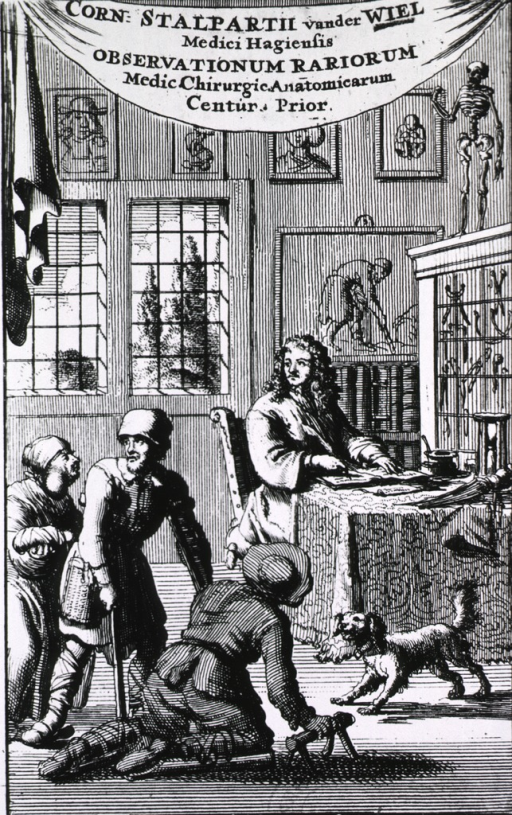 <p>Interior view: a small snarling dog is keeping two handicapped men and a woman with a tumor on her neck away from a physician sitting at a desk in his office.</p>