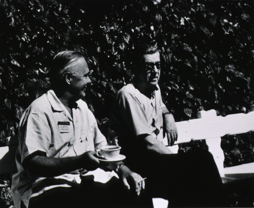 <p>Dr. James Shannon and Dr. James Watt in Palo Alto, California, July 26-29, 1967 as members of the U.S. and Japanese Delegations to the CMS Program.</p>