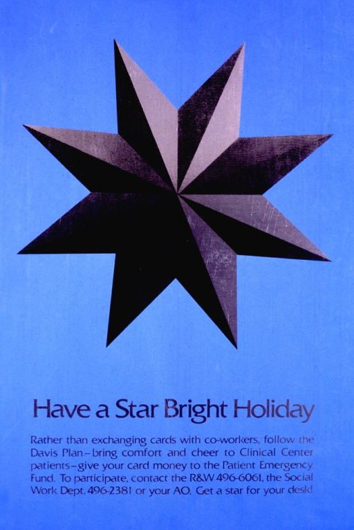 <p>A silver and black three dimensional star on a blue background comprises two-thirds of the poster.  The bottom portion has the caption along with information for those who want to participate.</p>