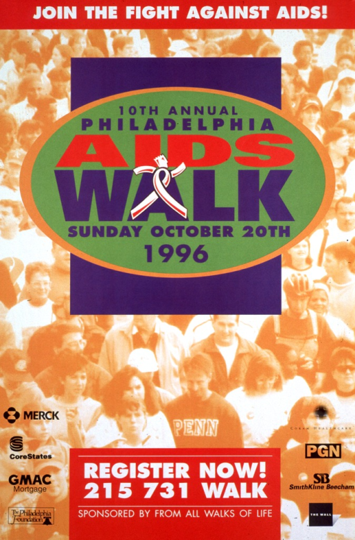 <p>Multicolor poster.  Note at top of poster.  Poster background is a reproduction of a photo of a large crowd of people walking.  Title superimposed on photo below note.  The &quot;a&quot; in walk features an abstract figure, comprised of an AIDS awareness ribbon and head and arms, suggestive of a person marching or walking briskly.  Registration and sponsor information at bottom of poster.</p>