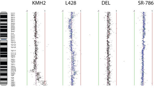 Genomic profiles of chromosome 7 for the cell lines KMH2, L428, DEL and SR-786. Data points to left and right of center purple line represents genetic losses and gains in the above mentioned cell lines. Green and red lines are scale bars at log2 ratios of -1.0 and 1.0 respectively.