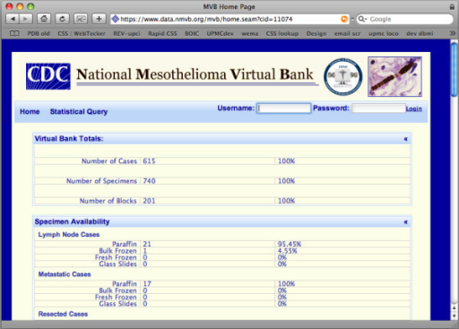 Presents the NMVB statistical summary for public view. This view provides overall statistics on all the cases and biospecimens stored into the resource.
