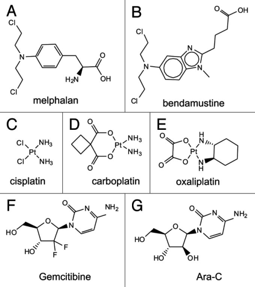 Figure 3. Chemical structures of DNA damaging chemotherapeutics.