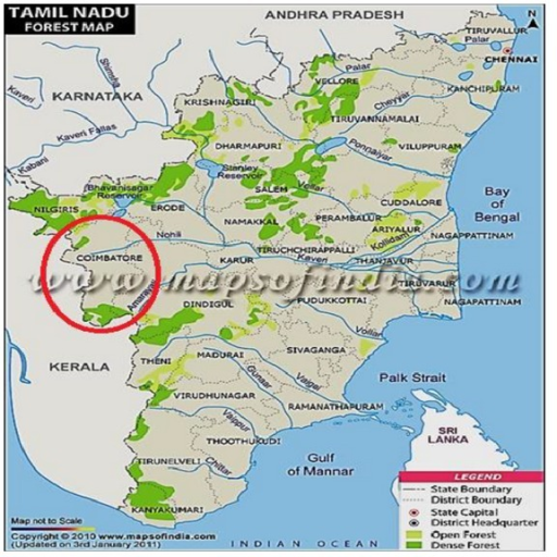 Map showing study area of the Coimbatore district in Ta Openi